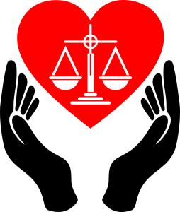 hands holding justice symbol in a heart